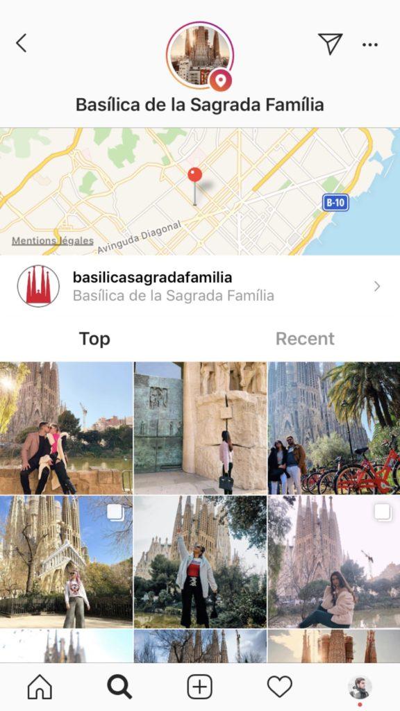 Rechercher lieu Instagram