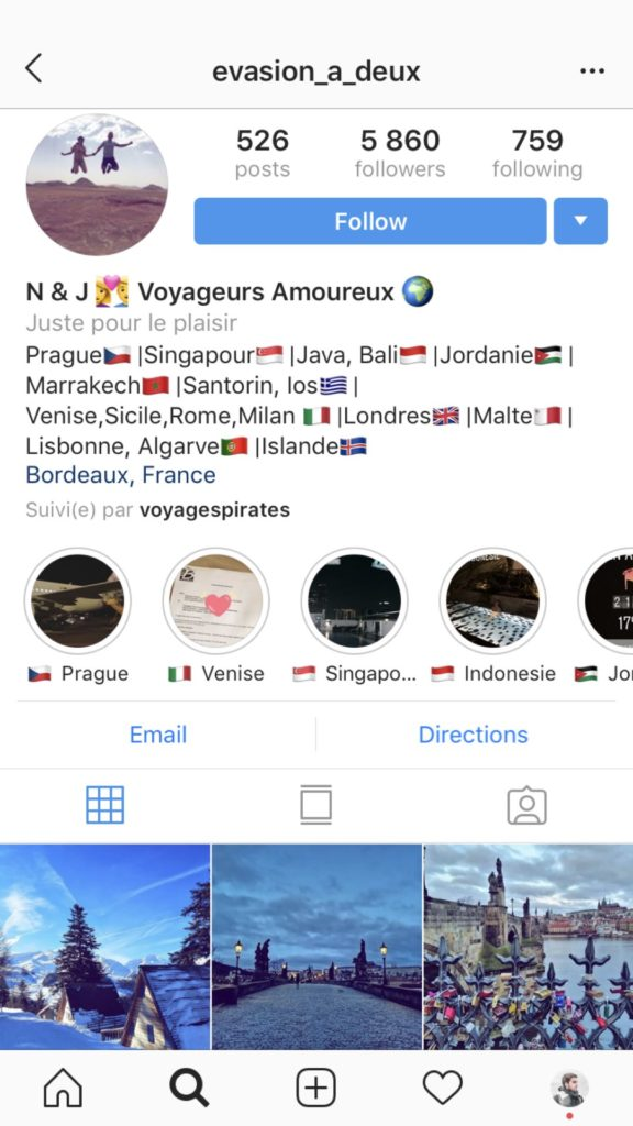 Exemple compte instagram voyage
