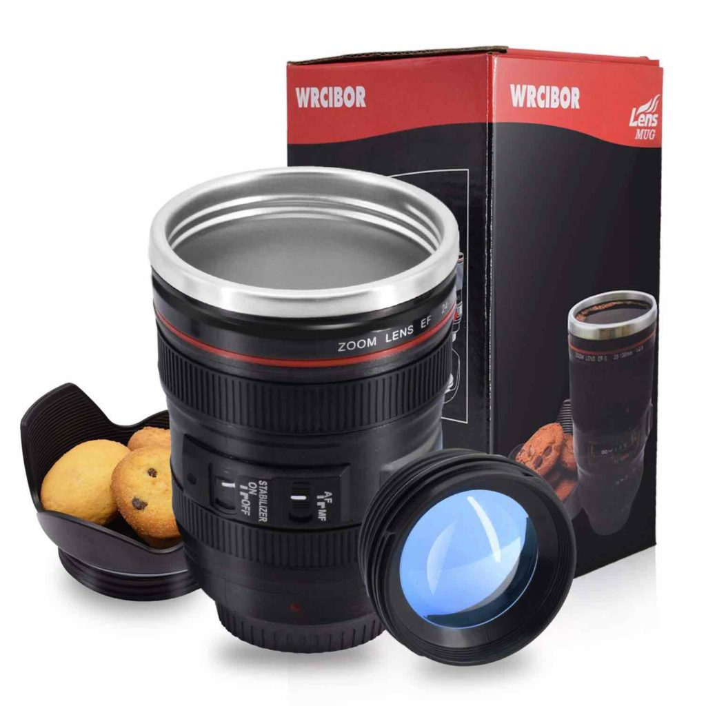 Mug thermos objectif photo