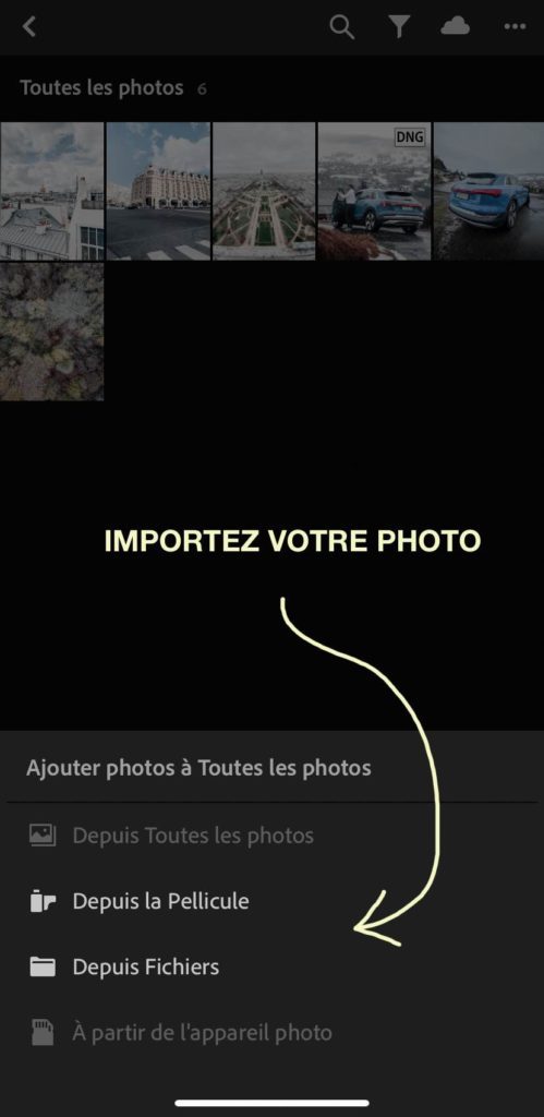 Importer photo Lightroom mobile