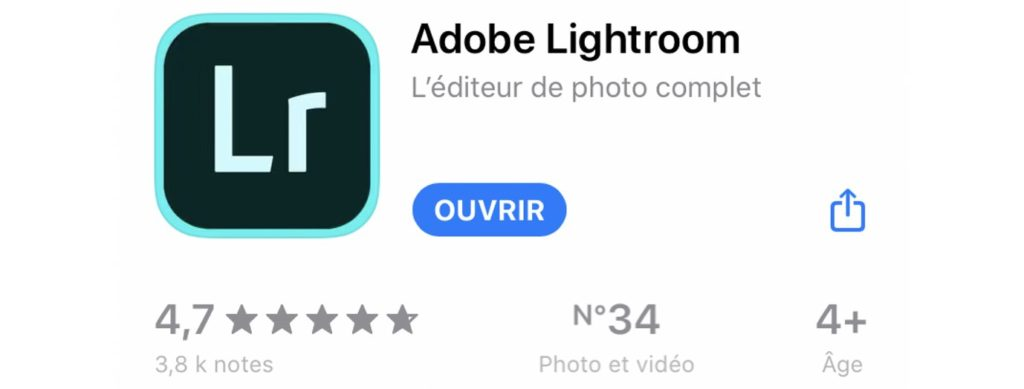 Screenshot Lightroom Mobile Apple store