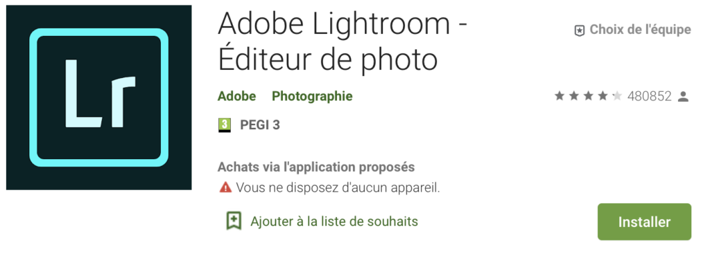 Screenshot Lightroom Mobile Play store