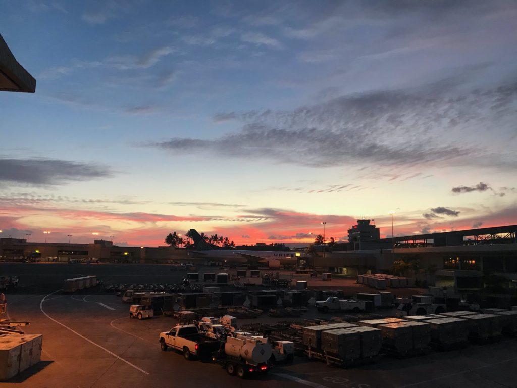 Aéroport Onolulu coucher de soleil