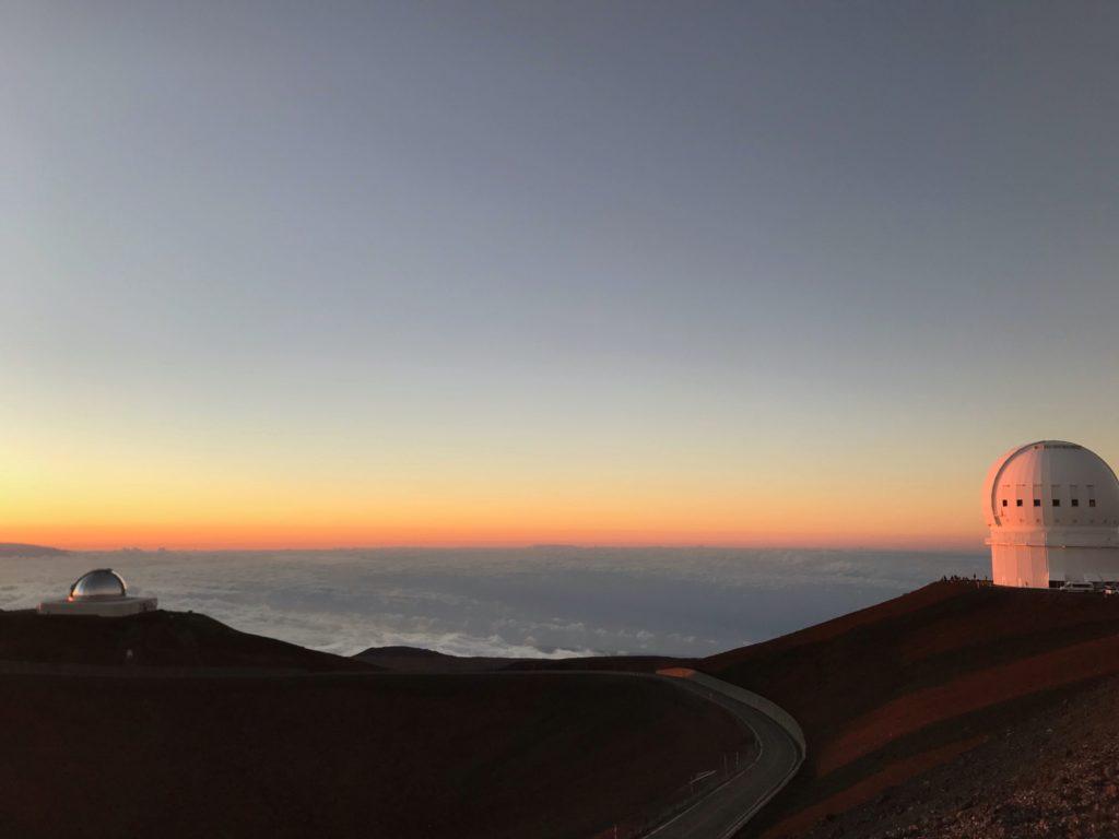 Vue téléscopes sommet Mauna Kea Hawaii