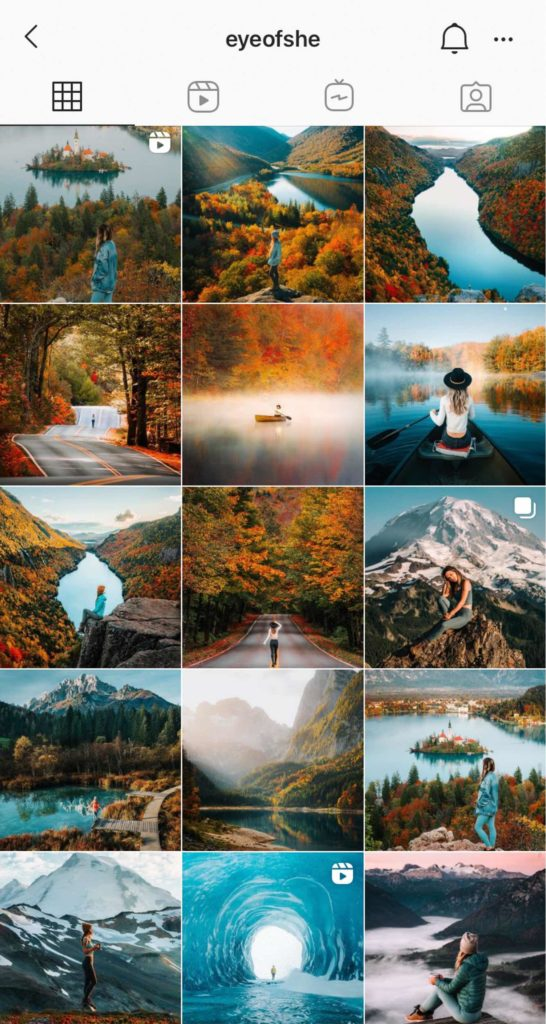 Beau feed Instagram voyage