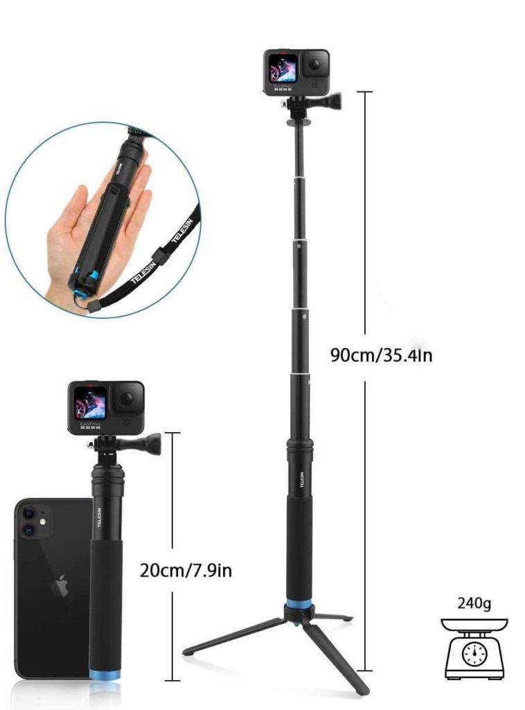 Perche GoPro max téléscopique