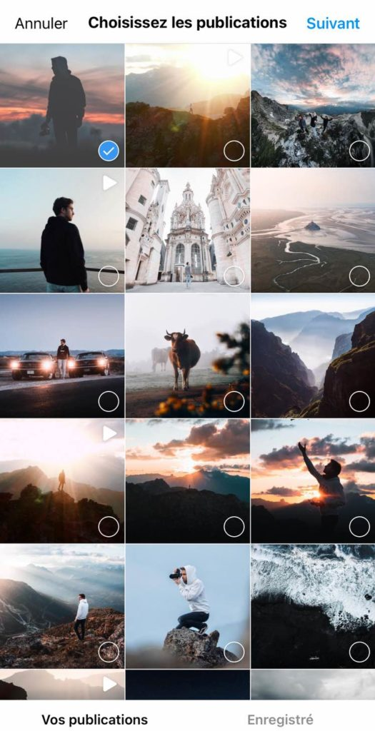 Choisir photo couverture guide instagram
