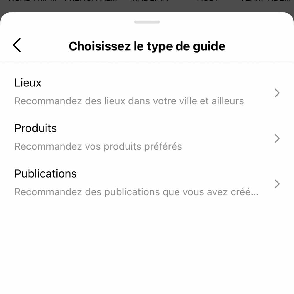 Les types de Guides Instagram