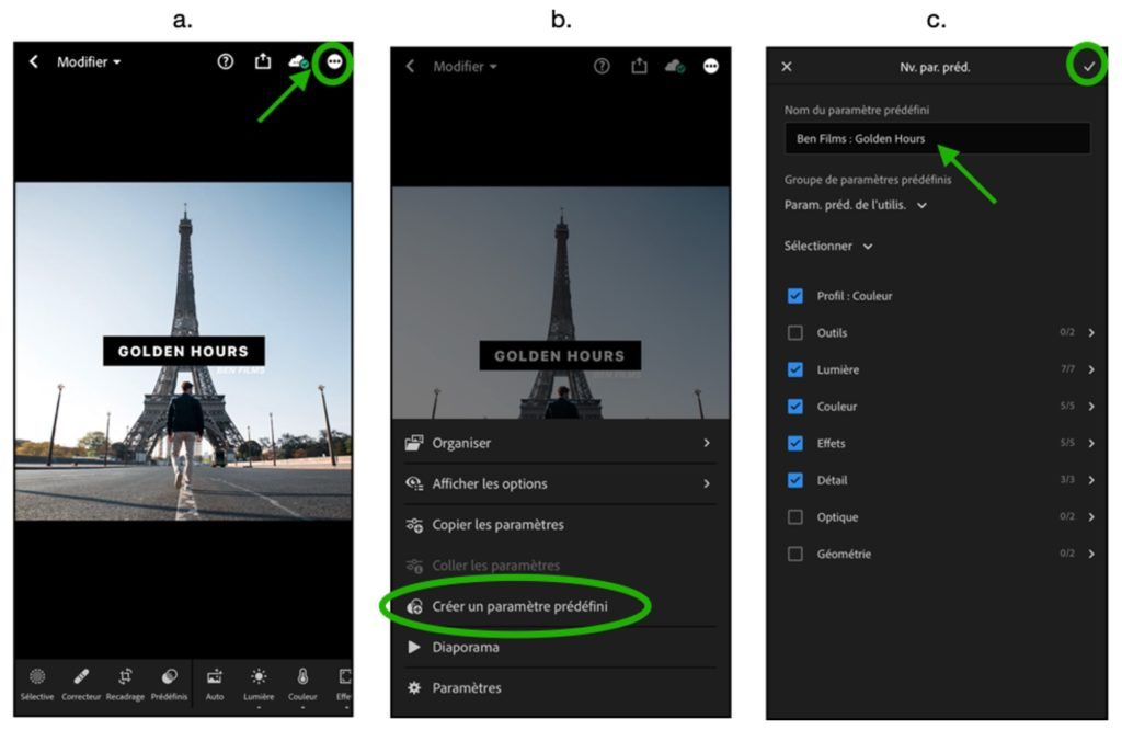 Enregistrer presets lightroom mobile