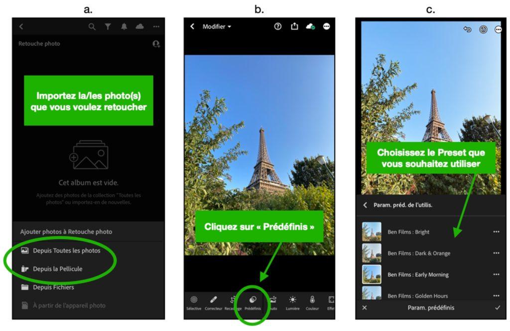 Utiliser preset lightroom mobile