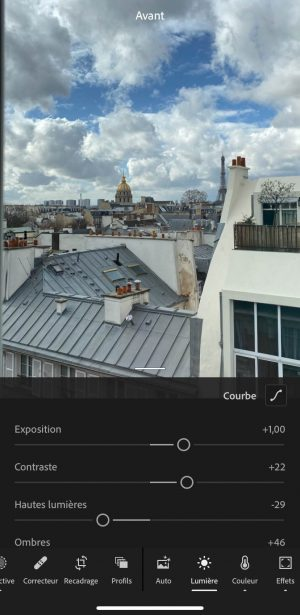Retoucher une photo sur Lightroom Mobile
